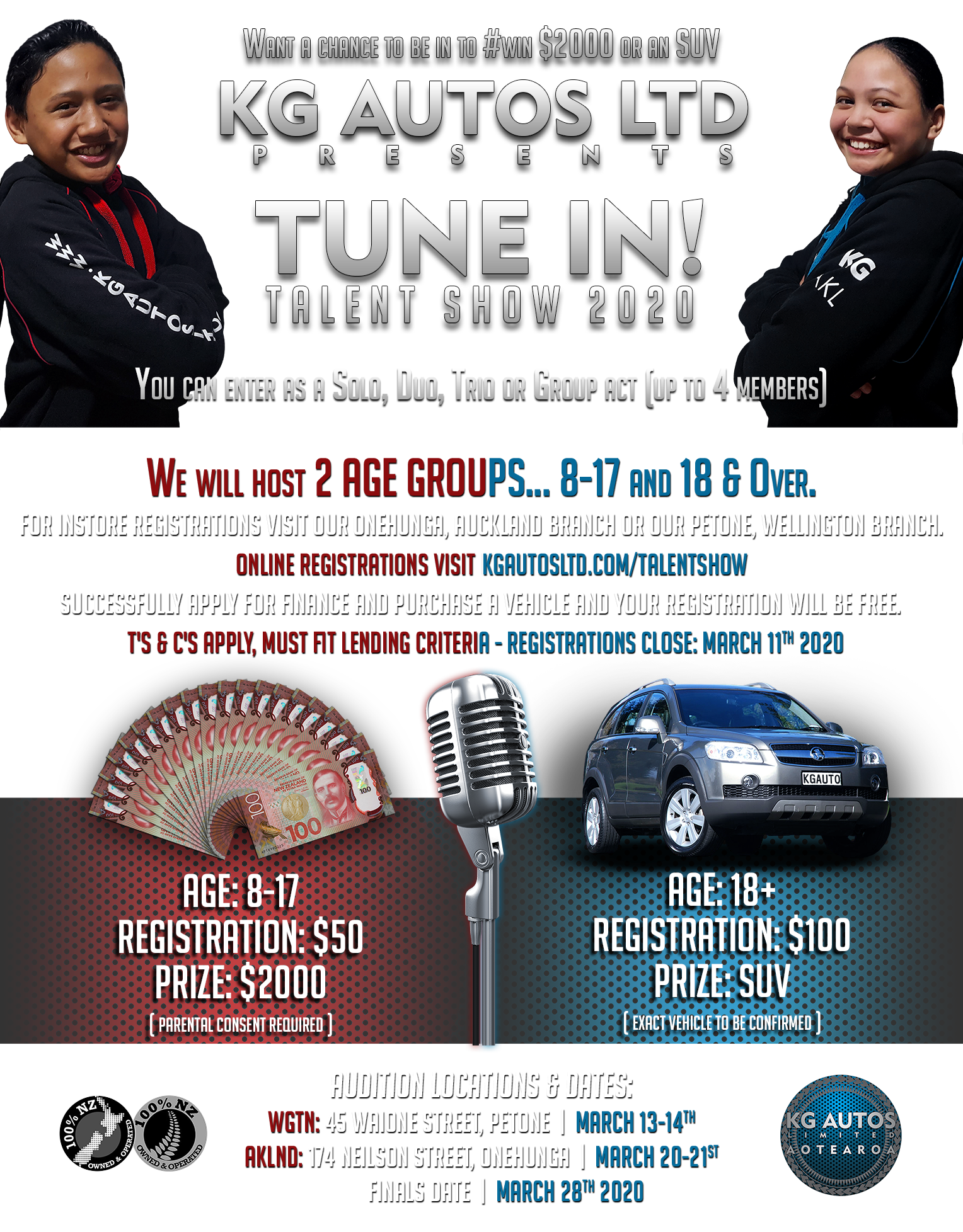 KG Autos - TUNE IN - TALENT SHOW - PROMOTION